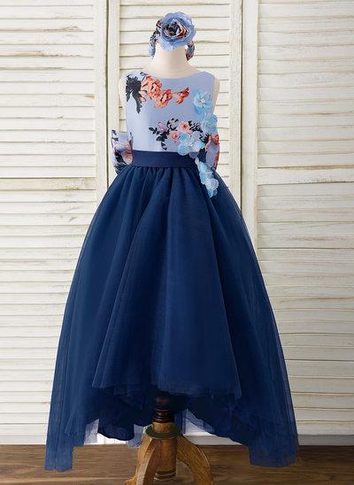Трапеция асимметричный Нарядные платья для девочек - Атлас/Тюль Без Рукавов Круглый с Цветы/Бант(ы)