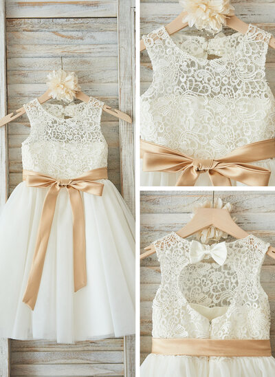 A-Line Knee-length Flower Girl Dress - Satin/Tulle/Lace Sleeveless Scoop Neck With Sash/Bow(s)/Back Hole