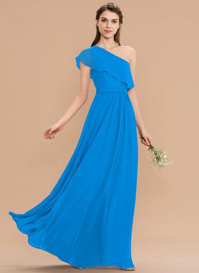 Corte A Um ombro Longos Tecido de seda Vestido de madrinha