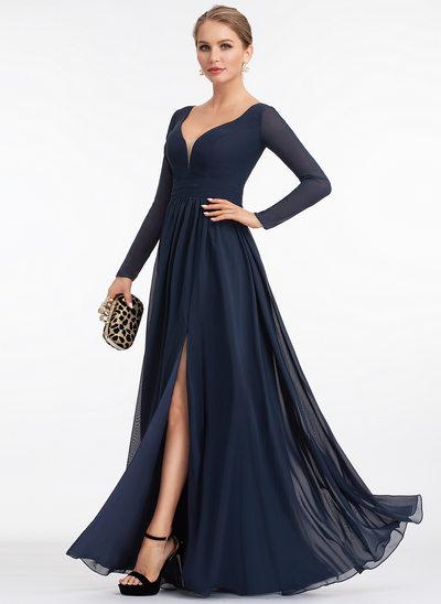 A-Linie V-Ausschnitt Bodenlang Chiffon Abendkleid mit Schlitz Vorn