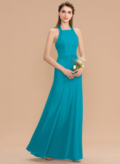 Trumpet/Mermaid Halter Floor-Length Chiffon Bridesmaid Dress With Lace