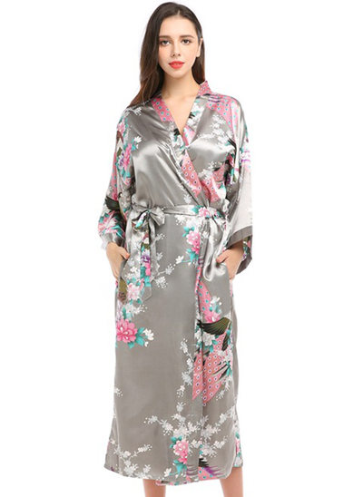 Satin Bride Bridesmaid Mom Floral Robes