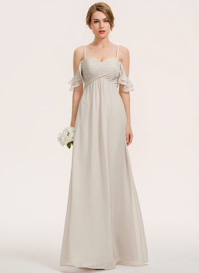 A-Line Sweetheart Floor-Length Chiffon Bridesmaid Dress With Cascading Ruffles