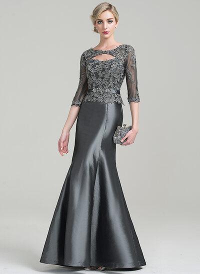 Trompete/Meerjungfrau-Linie U-Ausschnitt Bodenlang Taft Kleid für die Brautmutter mit Perlstickerei Applikationen Spitze Pailletten