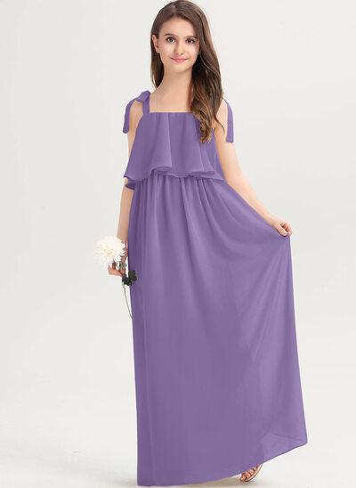 A-linjainen Square Pääntie Lattiaa hipova pituus Sifonki Nuorten morsiusneito mekko jossa Rusetti Laskeutuva röyhelö