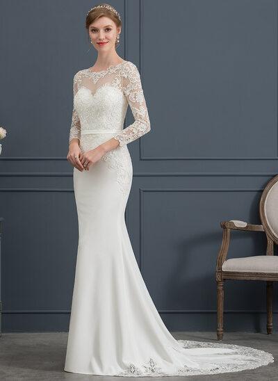 Trompete/Sereia Decote redondo Cauda longa Crepe Elástico Vestido de noiva com Renda