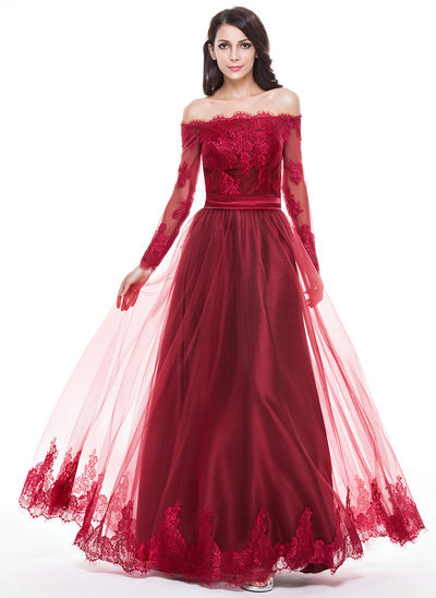 A-Linie/Princess-Linie Off-the-Schulter Bodenlang Tüll Abiballkleid mit Applikationen Spitze