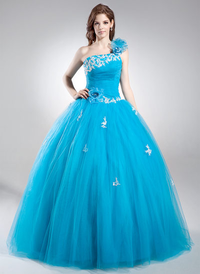 Ball-Gown One-Shoulder Floor-Length Tulle Prom Dress With Beading Appliques Lace Flower(s) Sequins