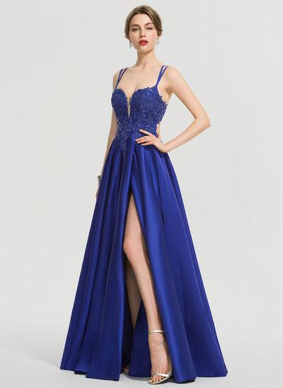 Трапеция V-образный Длина до пола Атлас Платье Для Выпускного Вечера с блестки Разрез спереди