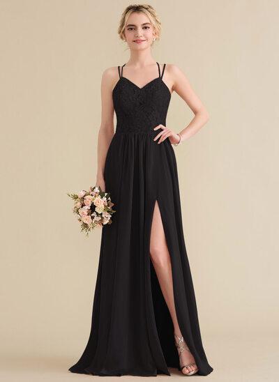 Vestidos princesa/ Formato A Amada Longos Tecido de seda Renda Vestido de baile com Frente aberta