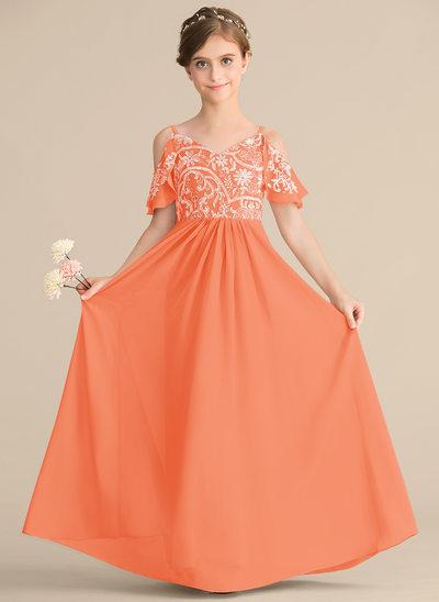 Vestidos princesa/ Formato A Decote V Longos Tecido de seda Renda Vestido de daminha júnior