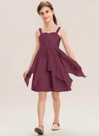 A-Line Sweetheart Knee-Length Chiffon Lace Junior Bridesmaid Dress With Cascading Ruffles