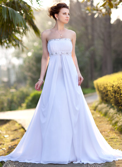 Empire Strapless Court Train Chiffon Wedding Dress With Ruffle Beading