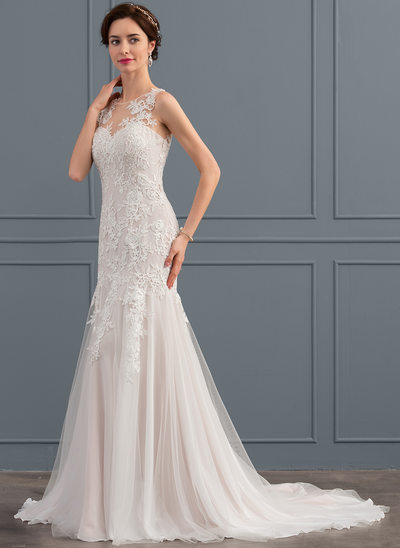 Trumpet/Mermaid Illusion Court Train Tulle Lace Wedding Dress