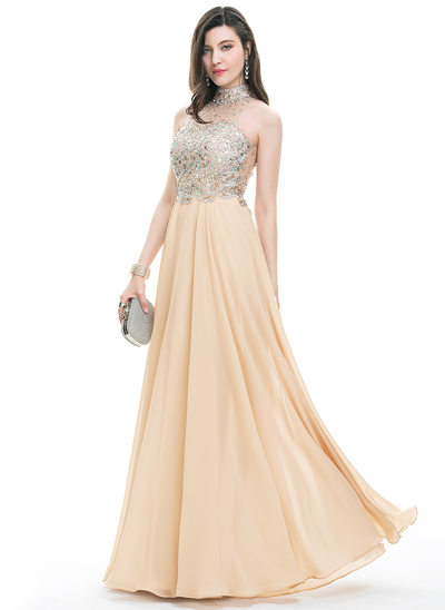 A-Line/Princess Scoop Neck High Neck Floor-Length Chiffon Prom Dresses With Beading Sequins
