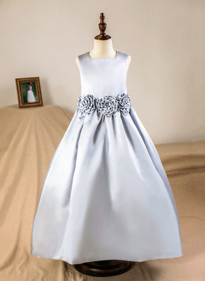 A-Line Floor-length Flower Girl Dress - Satin Sleeveless Square Neckline With Flower(s) (Petticoat NOT included)