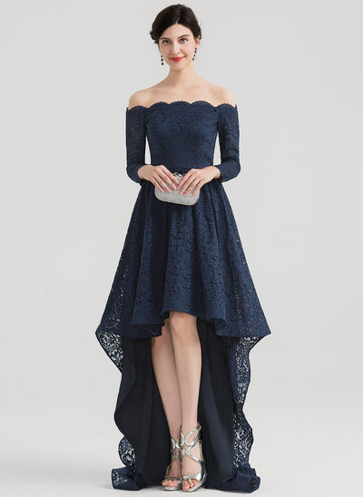 A-Line/Princess Off-the-Shoulder Asymmetrical Lace Evening Dress