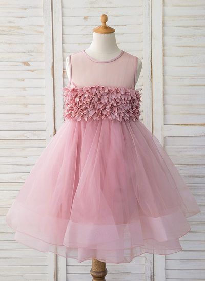 Plesové/Princesový Po kolena Flower Girl Dress - Tyl Bez rukávů Scoop Neck