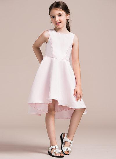 A-Linie/Princess-Linie U-Ausschnitt Asymmetrisch Satin Kleid für junge Brautjungfern