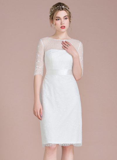 Sheath/Column Scoop Neck Knee-Length Lace Wedding Dress With Bow(s)