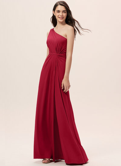 A-Line One-Shoulder Floor-Length Jersey Bridesmaid Dress With Ruffle Split Front