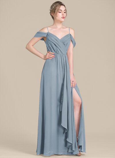 A-Line V-neck Floor-Length Chiffon Bridesmaid Dress With Bow(s) Split Front Cascading Ruffles