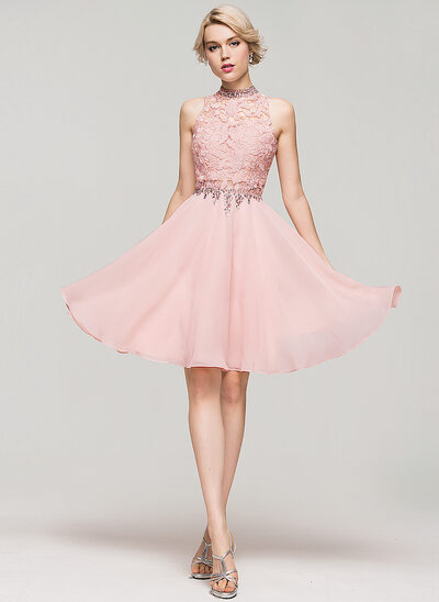 A-Line/Princess High Neck Knee-Length Chiffon Homecoming Dress With Beading Sequins