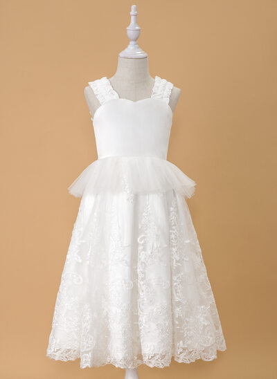A-Line Tea-length Flower Girl Dress - Satin/Tulle/Lace Sleeveless V-neck