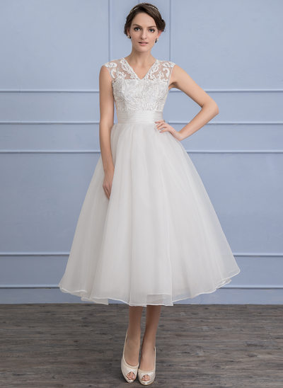 A-Line/Princess V-neck Tea-Length Organza Lace Wedding Dress With Ruffle