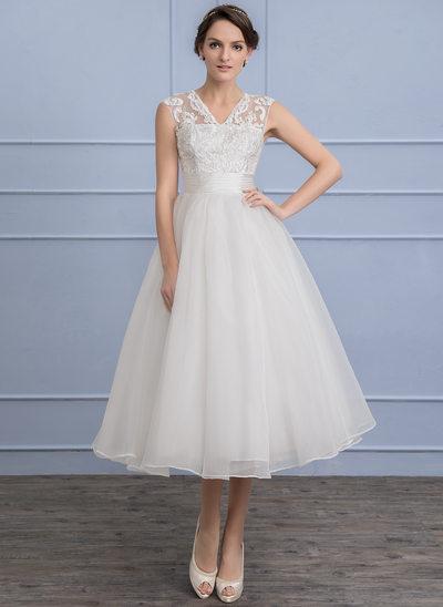 A-Linie/Princess-Linie V-Ausschnitt Wadenlang Organza Lace Brautkleid mit Rüschen