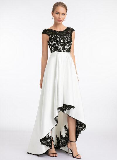 Áčkové Šaty Kruhový výstřih Asymetrické Satén Svatební šaty