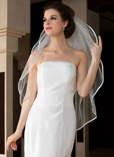 2 couches Voile de mariée longueur bout des doigts avec Bord en ruban
