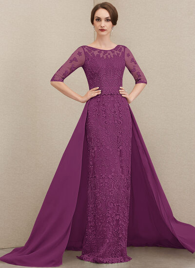 Sheath/Column Scoop Neck Sweep Train Chiffon Lace Mother of the Bride Dress