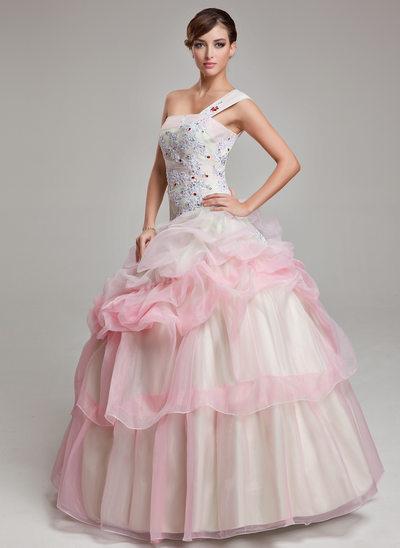 Duchesse-Linie One-Shoulder-Träger Bodenlang Organza Quinceañera Kleid (Kleid für die Geburtstagsfeier) mit Rüschen Perlen verziert Applikationen Spitze