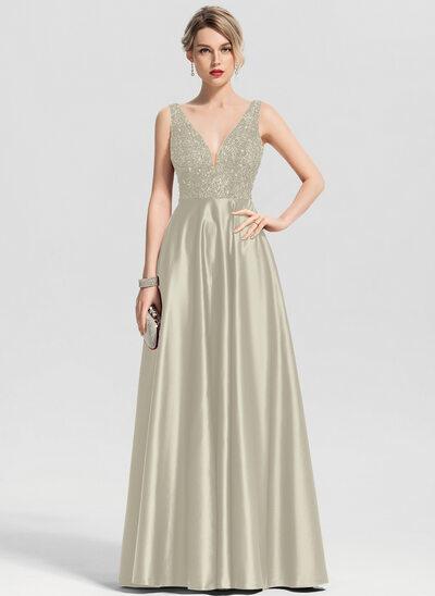 A-Line/Princess V-neck Floor-Length Satin Prom Dresses With Beading Sequins