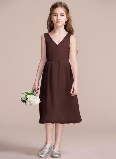 Vestidos princesa/ Formato A Decote V Comprimento médio Tecido de seda Vestido de daminha júnior com Curvado