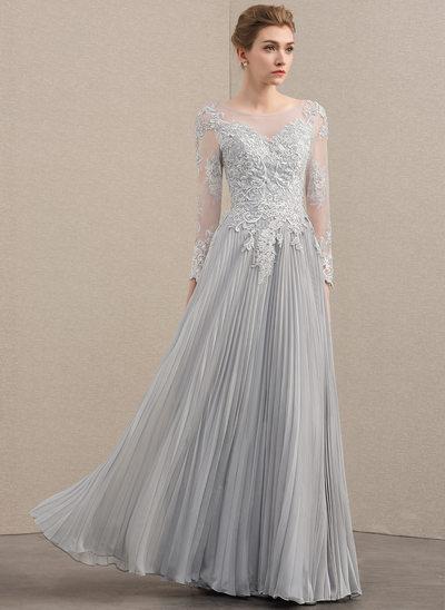 A-Linie/Princess-Linie U-Ausschnitt Bodenlang Chiffon Spitze Kleid für die Brautmutter mit Perlstickerei Pailletten Gefaltet