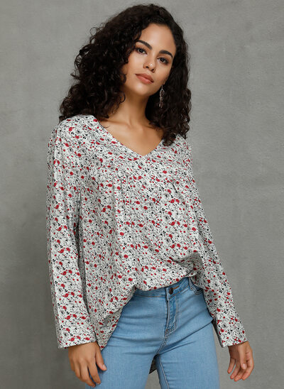 Print Floral Long Sleeves Polyester V Neck Blouses