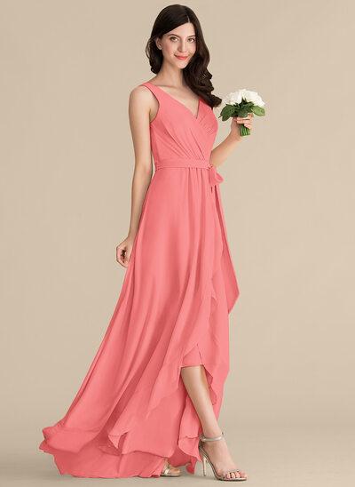 A-Line V-neck Asymmetrical Chiffon Bridesmaid Dress With Ruffle Bow(s)