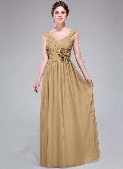 Çan/Prenses V Yaka Uzun Etekli Chiffon Nedime Elbisesi Ile Büzgü Çiçek(ler)