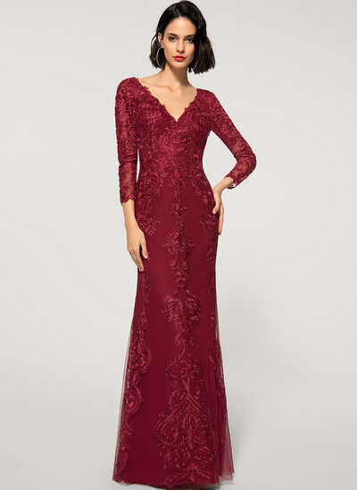 Sheath/Column V-neck Floor-Length Chiffon Lace Evening Dress
