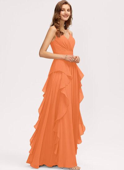 A-Line V-neck Floor-Length Chiffon Bridesmaid Dress With Ruffle Cascading Ruffles