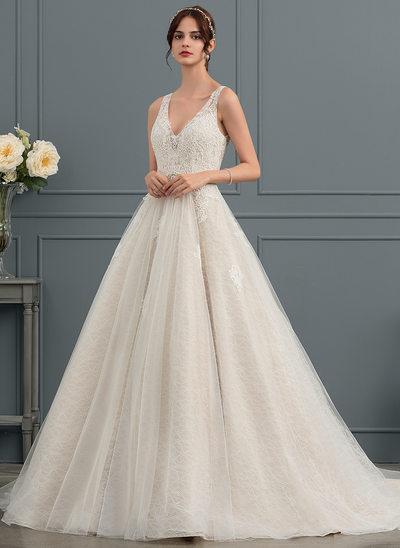 Balklänning V-ringning Court släp Tyll Bröllopsklänning med Beading