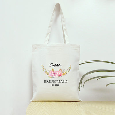 Bridesmaid Gifts - Personalized Canvas Style Cotton Tote Bag (256179088)