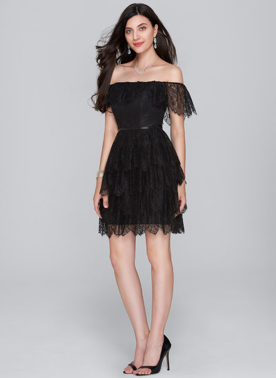 A-Linie/Princess-Linie Off-the-Schulter Kurz/Mini Lace Cocktailkleid