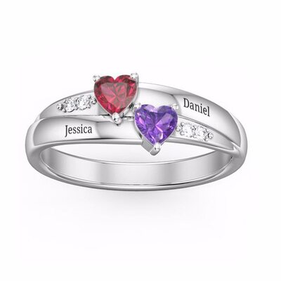 Sterling Silver Cubic Zirconia Brithstone Dainty Heart Cut Promise Rings Custom Rings -