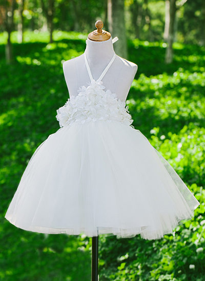 A-Line/Princess Flower Girl Dress - Satin/Tulle Sleeveless Halter With Flower(s)