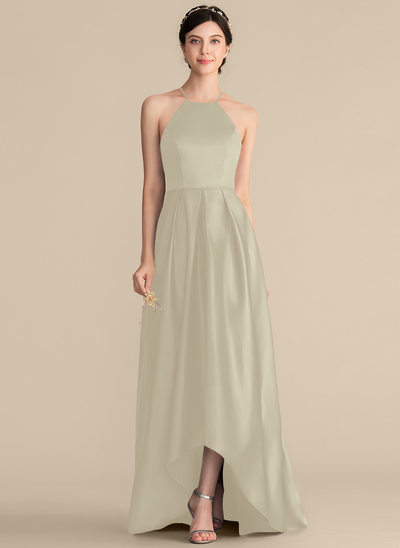 A-Line/Princess Square Neckline Asymmetrical Satin Prom Dresses With Ruffle Bow(s)