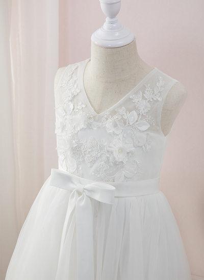 Corte A Longos Vestidos de Menina das Flores - Tule/Renda Sem magas Decote V com Beading/fecho de correr (Faixa desmontável)