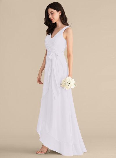 Corte A Decote V Assimétrico Tecido de seda Vestido de baile